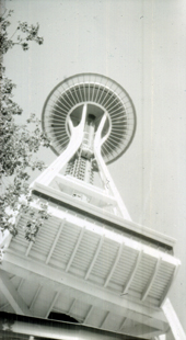 Seattle Space Needle taken with a Kodak Brownie No 2A, Model B