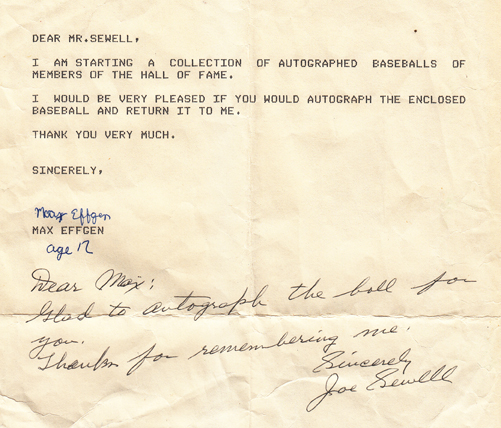 Joe Sewell autographed letter from the collection
